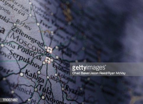 Detail of a Map of Russia : Stock Photo