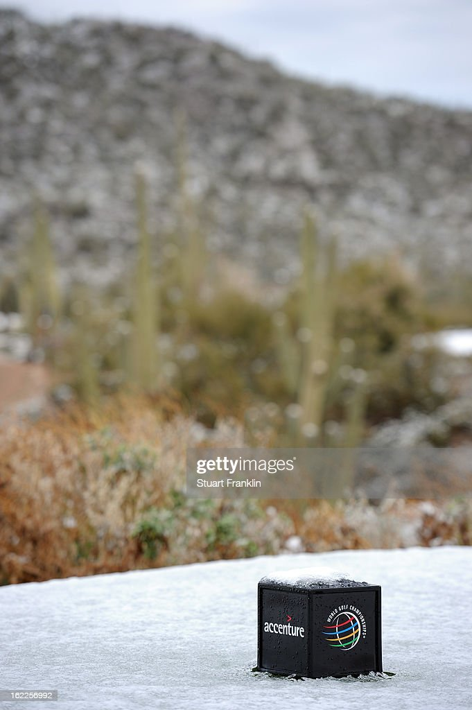 A detail of a marker of the 10th hole tee box is seen as the start of the continuation of round one was delayed due to snow during the World Golf Championships - Accenture Match Play at the Golf Club at Dove Mountain on February 21, 2013 in Marana, Arizona. Round one play was suspended on February 20 due to inclimate weather and is scheduled to be continued today.