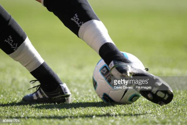 Detail of a matchball being kicked by a Wolverhampton Wanderers player
