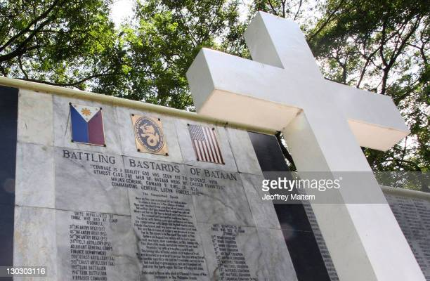 Detail of a memorial stone at the Capas National Shrine inscribed with names of Filipino and US soldiers who died as prisoners of war from the Bataan...