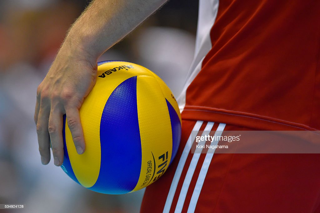 Detail of a Mikasa ball during the Men's World Olympic Qualification game between Poland and Canada at Tokyo Metropolitan Gymnasium on May 28, 2016 in Tokyo, Japan.