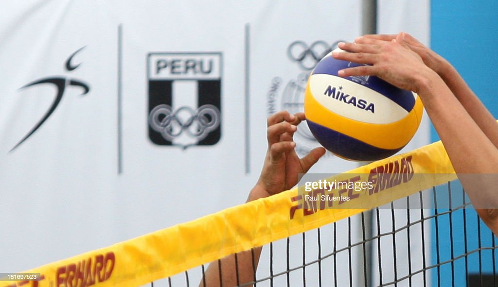Detail of a Mikasa ball during the Women's Beach Volleyball Qualification as part of the I ODESUR South American Youth Games at Parque tem‡tico de los Deportes on September 23, 2013 in Lima, Peru.