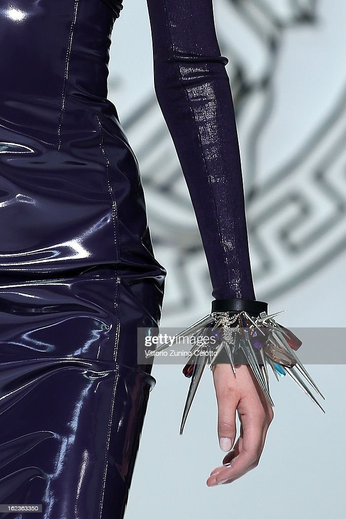 A detail of a model is seen as she walks the runway at the Versace fashion show during Milan Fashion Week Womenswear Fall/Winter 2013/14 on February 22, 2013 in Milan, Italy.
