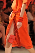 A detail of a model is seen as she walks the runway during the Hermes Ready to Wear Spring / Summer 2012 show during Paris Fashion Week on October 2...
