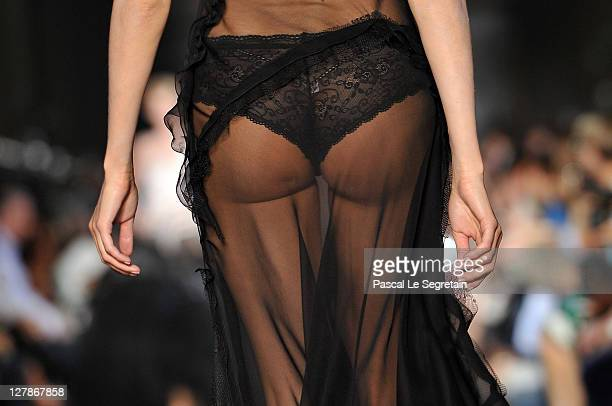 A detail of a model is seen as she walks the runway during the John Galliano Ready to Wear Spring / Summer 2012 show during Paris Fashion Week on...