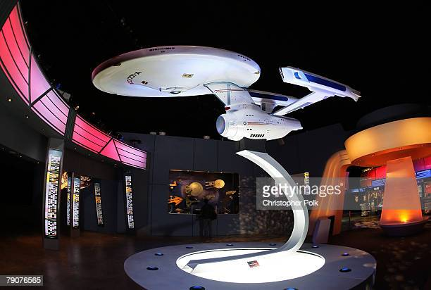 A detail of a model of the USS Enterprise at the Star Trek 'The Tour' North American Debut held at the Queen Mary Dome on January 17 2008 in Long...