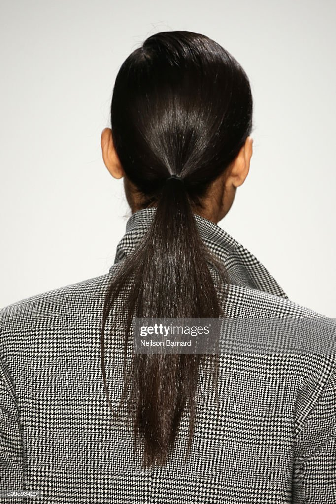 Detail of a models hair as she walks the runway wearing Marissa Webb Fall 2016 during New York Fashion Week: The Shows at The Gallery, Skylight at Clarkson Square on February 11, 2016 in New York City.