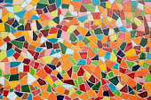 Detail of a multicolored glass mosaic.