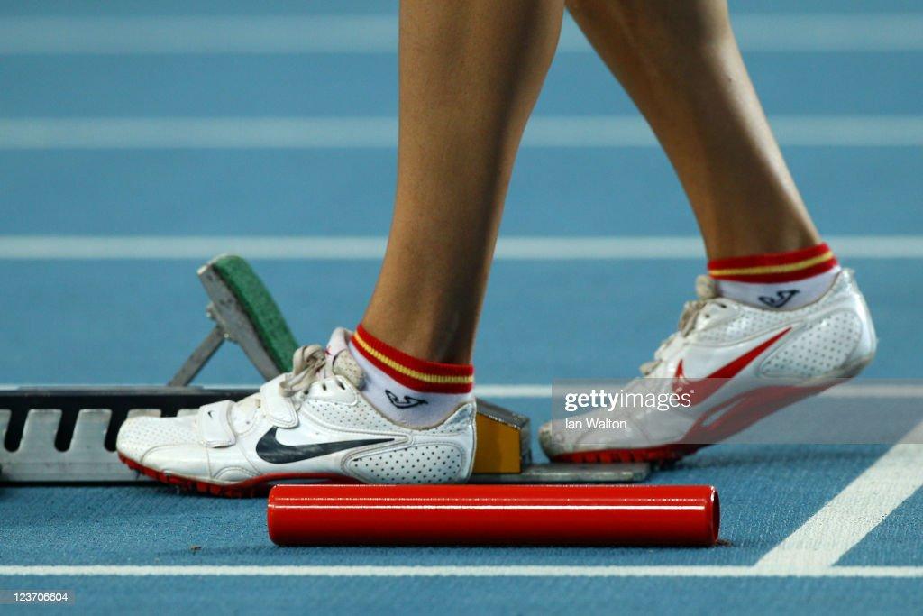 Detail of a NIKE running shoe during day nine of 13th IAAF World Athletics Championships at Daegu Stadium on September 4 2011 in Daegu South Korea