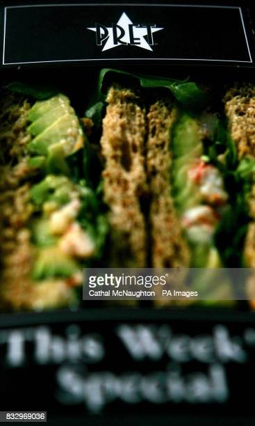 Detail of a packet of sandwiches from food shop Pret A Manger in central London