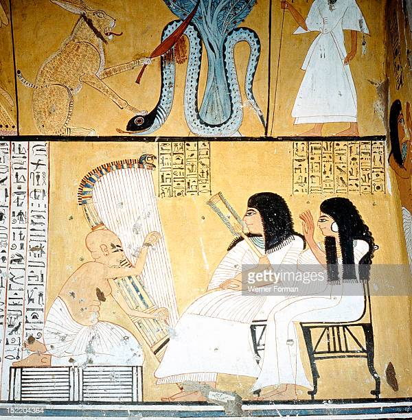 A detail of a painting in the tomb of Inherkha A mucisian entertains the deceased and his wife Egypt Ancient Egyptian 19th dynasty c 1295 1186BC Deir...