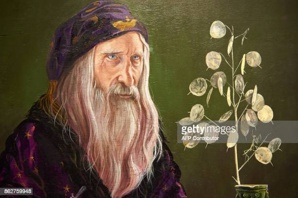 A detail of a painting of Professor Dumbledore is pictured during a preview of 'Harry Potter A History of Magic' exhibition at the British Library in...