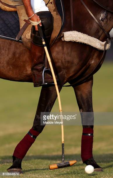 A detail of a polo mallet and ball during the match between the United States and Italy as part of the NBC10 Newport International Polo Series...