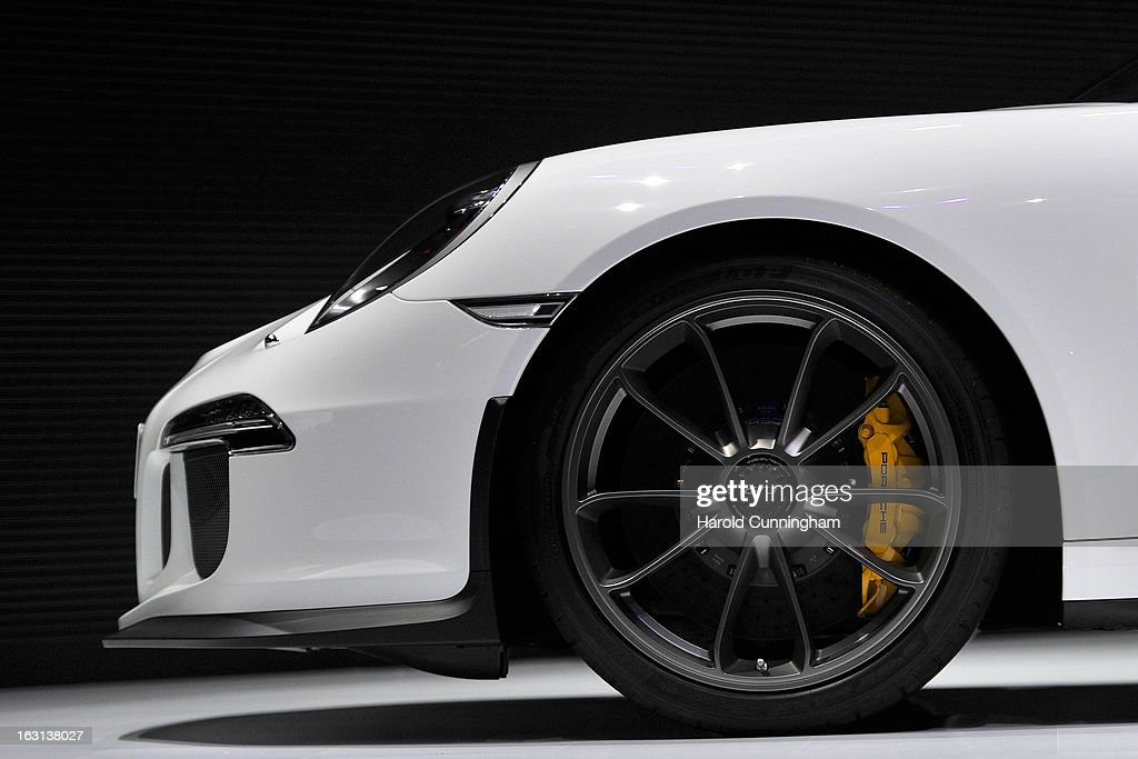 A detail of a Porsche 911 GT3 is seen during the 83rd Geneva Motor Show on March 5, 2013 in Geneva, Switzerland. Held annually the Geneva Motor Show is one of the world's five most important auto shows with this year's event due to unveil more than 130 new products.