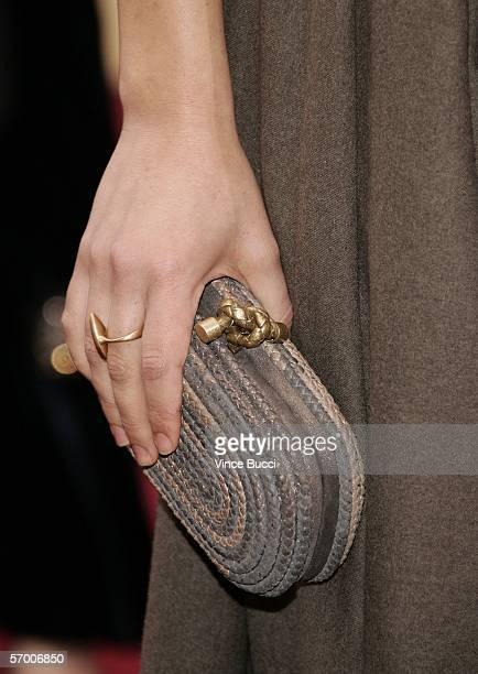 A detail of a purse belonging to actress Maggie Gyllenhaal is seen as she arrives at the 78th Annual Academy Awards at the Kodak Theatre on March 5...