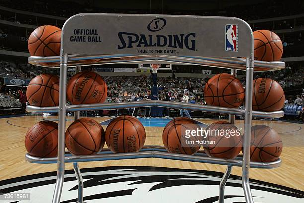 Detail of a rack of basketballs before the NBA game between the Cleveland Cavaliers and the Dallas Mavericks at American Airlines Center on March 1...