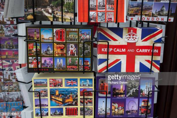 A detail of a rack of postcards showing a matrix of scenes and cityscapes of London on 10th August 2017 in London England
