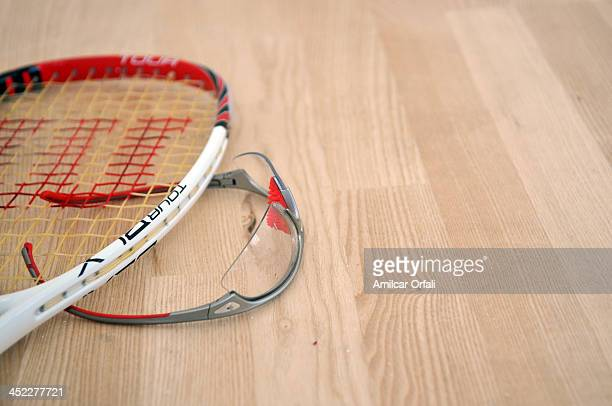 Detail of a racquet and glasses during Male«s Team Qualifications as part of the XVII Bolivarian Games Trujillo 2013 at Club Regatas on November 27...