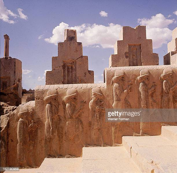 A detail of a relief carving on the staircase leading to the Tripylon at Persepolis depicting the procession of Medes and Persians Achaemenian Time...