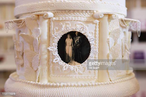 Detail of a replica wedding cake for Prince Albert Duke of York and Lady Elizabeth BowesLyon at an exhibition of Royal Wedding cakes on April 21 2011...