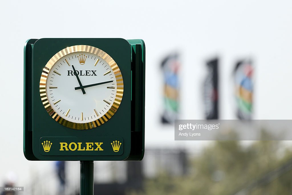 A detail of a Rolex branded clock is seen during the semifinal round of the World Golf Championships - Accenture Match Play at the Golf Club at Dove Mountain on February 24, 2013 in Marana, Arizona.