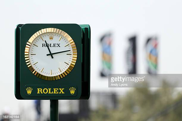 A detail of a Rolex branded clock is seen during the semifinal round of the World Golf Championships Accenture Match Play at the Golf Club at Dove...