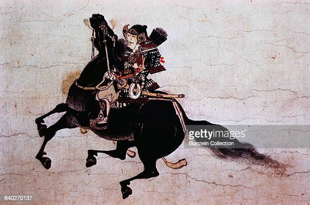 Detail of a Samurai on His Horse from a Scroll Painting of The Burning of the Sanjo Palace