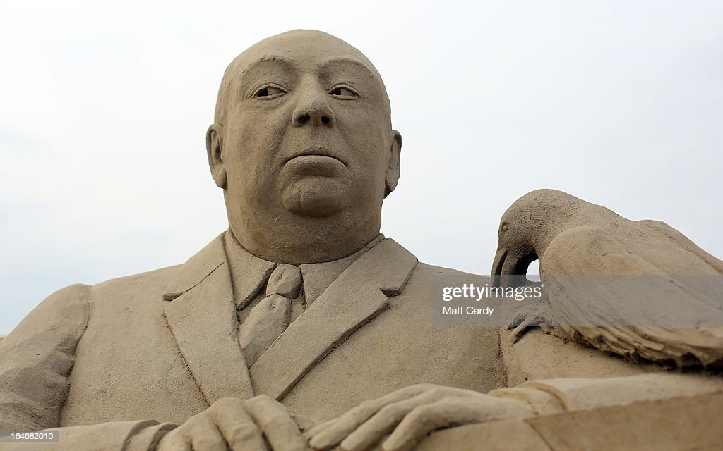 Detail of a sand sculpture of Alfred Hitchcock is seen as pieces are prepared as part of this year's Hollywood themed annual Weston-super-Mare Sand Sculpture festival on March 26, 2013 in Weston-Super-Mare, England. Due to open on Good Friday, currently twenty award winning sand sculptors from across the globe are working to create sand sculptures including Harry Potter, Marilyn Monroe and characters from the Star Wars films as part of the town's very own movie themed festival on the beach.