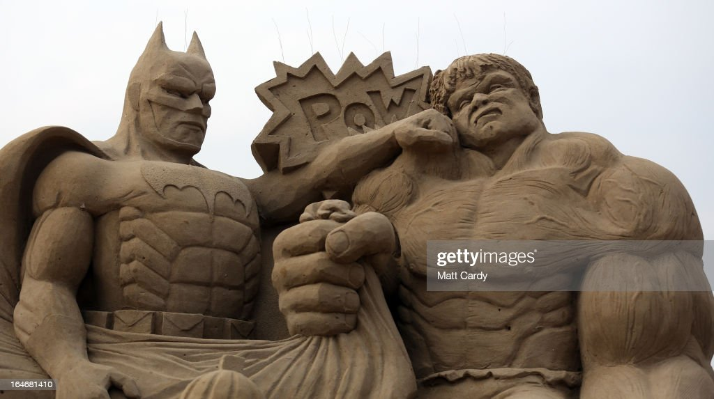 Detail of a sand sculpture of Batman and The Incredible Hulk is seen as pieces are prepared as part of this year's Hollywood themed annual Weston-super-Mare Sand Sculpture festival on March 26, 2013 in Weston-Super-Mare, England. Due to open on Good Friday, currently twenty award winning sand sculptors from across the globe are working to create sand sculptures including Harry Potter, Marilyn Monroe and characters from the Star Wars films as part of the town's very own movie themed festival on the beach.
