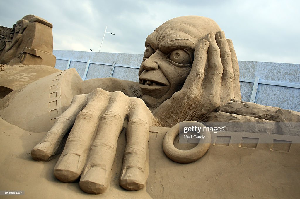 Detail of a sand sculpture of Gollum is seen as pieces are prepared as part of this year's Hollywood themed annual Weston-super-Mare Sand Sculpture festival on March 26, 2013 in Weston-Super-Mare, England. Due to open on Good Friday, currently twenty award winning sand sculptors from across the globe are working to create sand sculptures including Harry Potter, Marilyn Monroe and characters from the Star Wars films as part of the town's very own movie themed festival on the beach.
