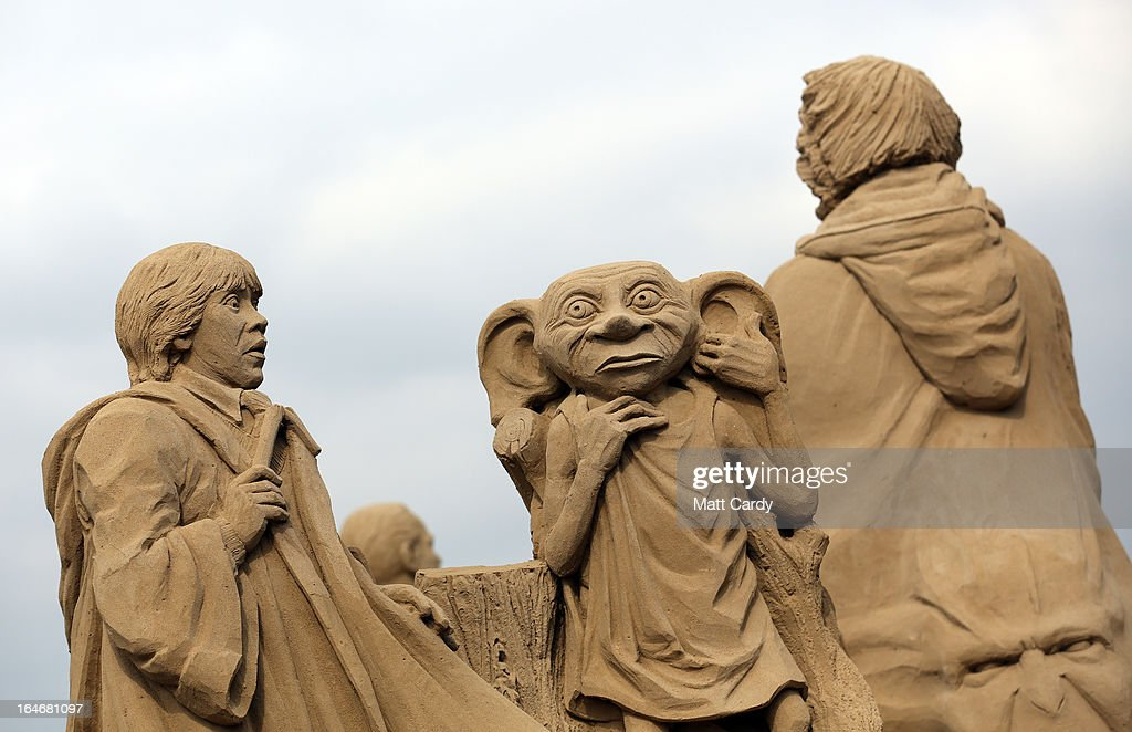Detail of a sand sculpture of Harry Potter is seen as pieces are prepared as part of this year's Hollywood themed annual Weston-super-Mare Sand Sculpture festival on March 26, 2013 in Weston-Super-Mare, England. Due to open on Good Friday, currently twenty award winning sand sculptors from across the globe are working to create sand sculptures including Harry Potter, Marilyn Monroe and characters from the Star Wars films as part of the town's very own movie themed festival on the beach.