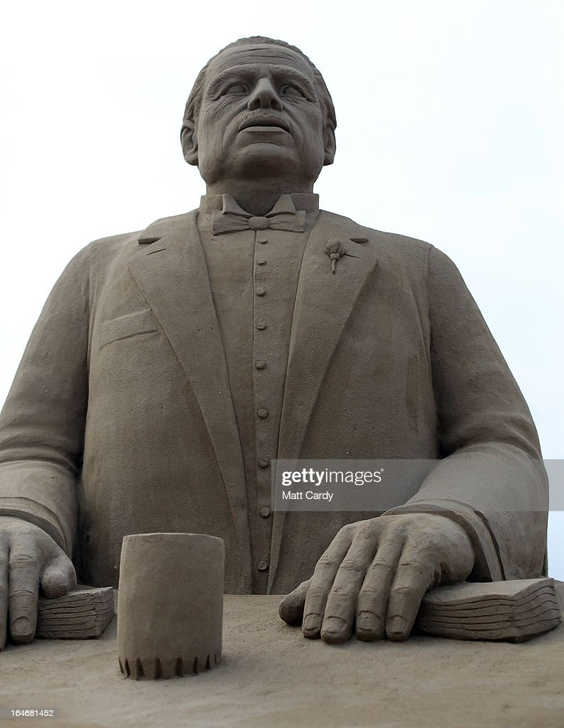 Detail of a sand sculpture of Marlon Brando in The Godfather is seen as pieces are prepared as part of this year's Hollywood themed annual Weston-super-Mare Sand Sculpture festival on March 26, 2013 in Weston-Super-Mare, England. Due to open on Good Friday, currently twenty award winning sand sculptors from across the globe are working to create sand sculptures including Harry Potter, Marilyn Monroe and characters from the Star Wars films as part of the town's very own movie themed festival on the beach.
