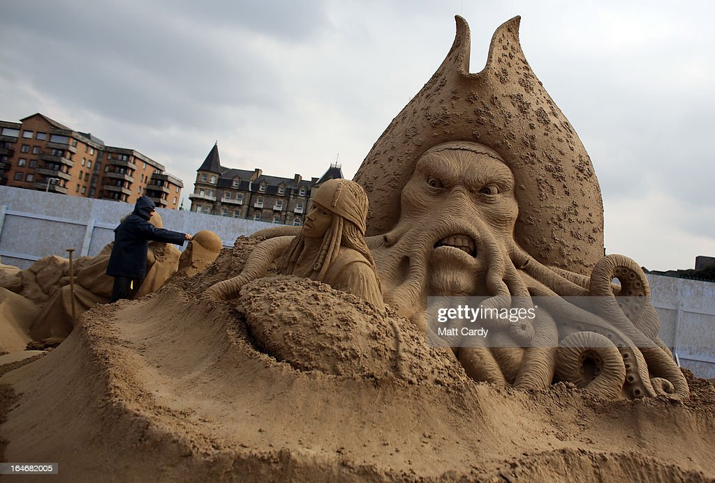 Detail of a sand sculpture of Pirates of the Caribbean is seen as pieces are prepared as part of this year's Hollywood themed annual Weston-super-Mare Sand Sculpture festival on March 26, 2013 in Weston-Super-Mare, England. Due to open on Good Friday, currently twenty award winning sand sculptors from across the globe are working to create sand sculptures including Harry Potter, Marilyn Monroe and characters from the Star Wars films as part of the town's very own movie themed festival on the beach.