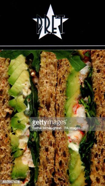 Detail of a sandwich from food shop Pret A Manger