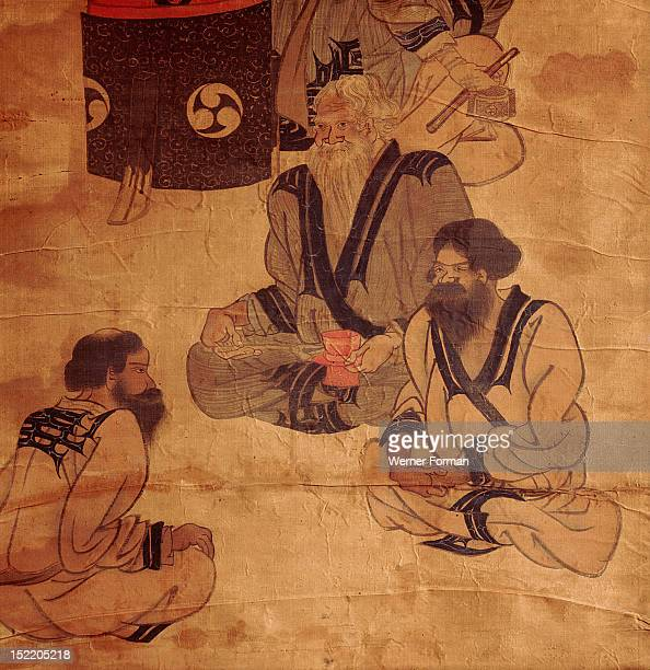 Detail of a scroll depicting an Ainu family The Ainu are the original inhabitants of Japan Japan 18th c