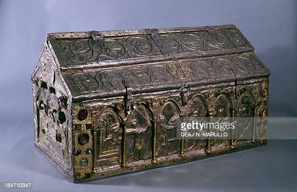Detail of a silver piece from the Ark known as Barbarossa St Lawrence Cathedral Genoa Italian goldsmith art 12th century
