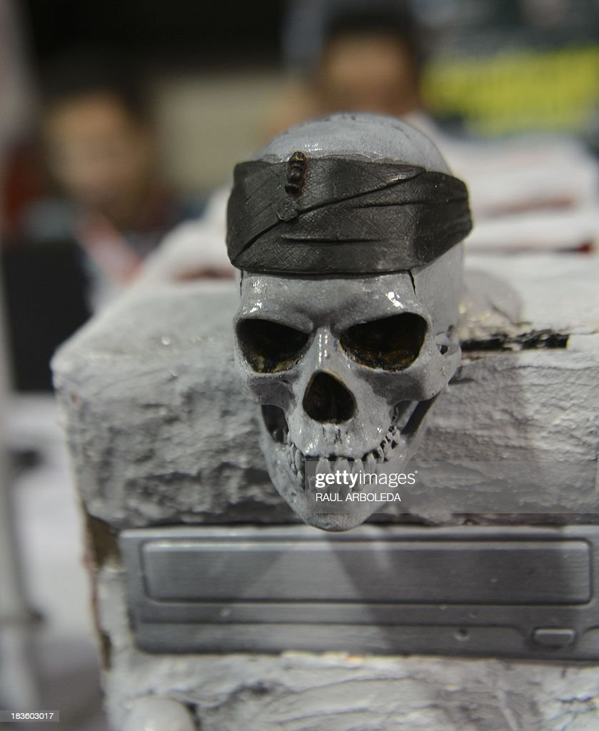 Detail of a skull over a computer during the sixth edition of Colombia's Campus Party on October 7, 2013, in Medellin, Antioquia department, Colombia. The Campus Party is considered the biggest event of technology, innovation, creativity, leisure and culture in the digital network world. AFP PHOTO/Raul ARBOLEDA