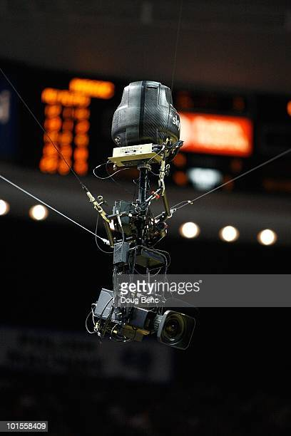 A detail of a skycam suspended by wires as it films the Orlando Magic play against the Boston Celtics in Game Five of the Eastern Conference Finals...