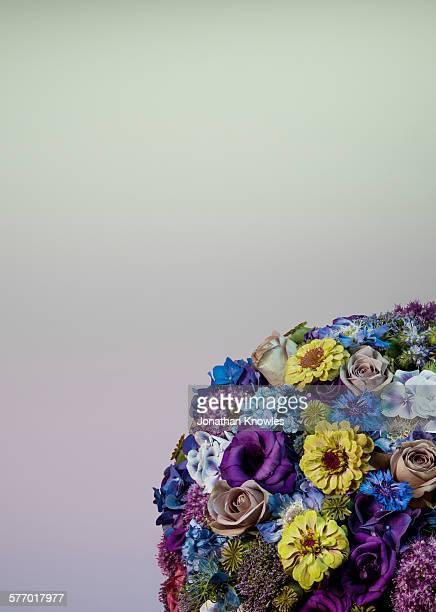 Detail of a sphere shaped floral arrangement