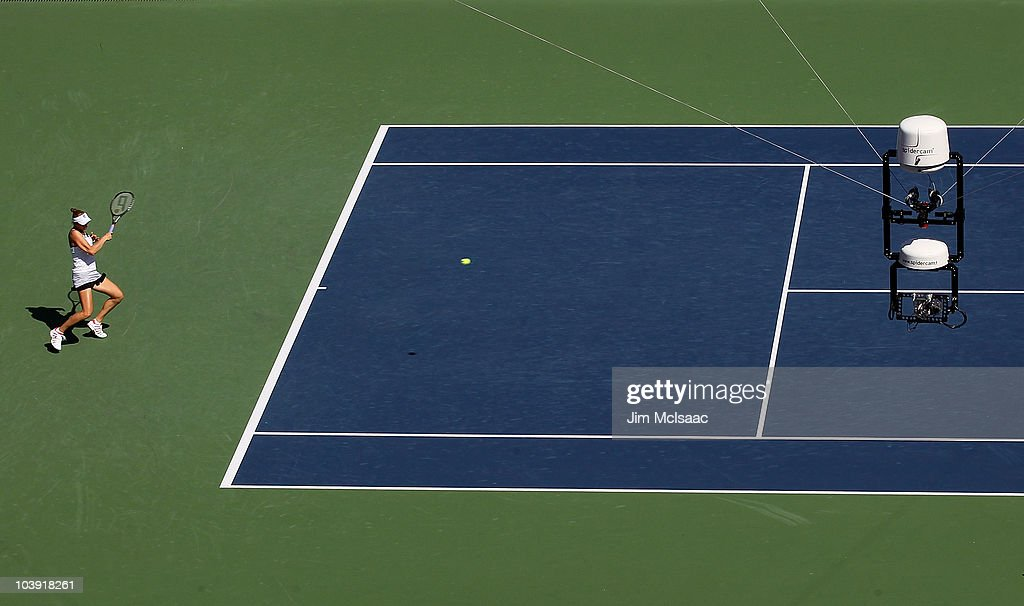 A detail of a Spidercam is seen as it films the match between Vera Zvonareva of Russia and Kaia Kanepi of Estonia during her women's singles...
