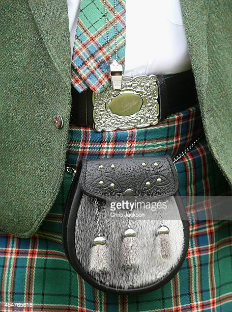 Detail of a sporran is seen on an official during the Braemar Highland Games on September 6 2014 in Braemar Scotland The Braemar Gathering is the...