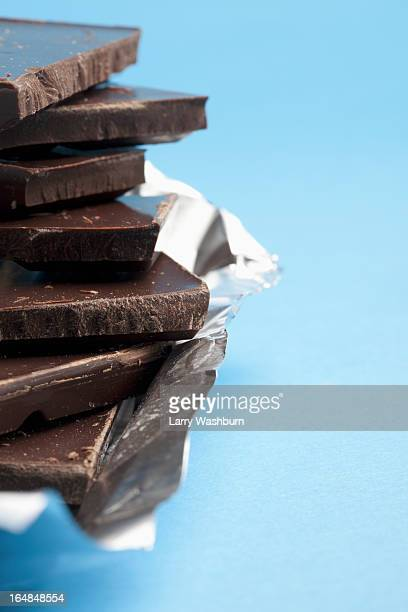 Detail of a stack of dark chocolate