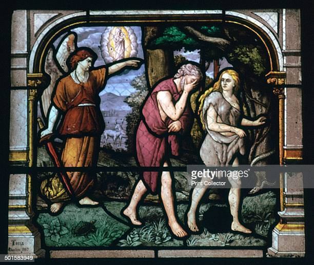 Detail of a stained glass window in the Church of St Aignan in Chartres It shows Adam and Eve being expelled from the Garden of Eden 19th century