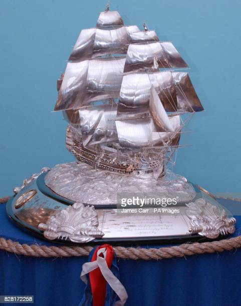 Detail of a sterling silver model of Lord Nelson's Trafalgar flagship HMS Victory on display in London Thursday October 13 2005 Led by master...