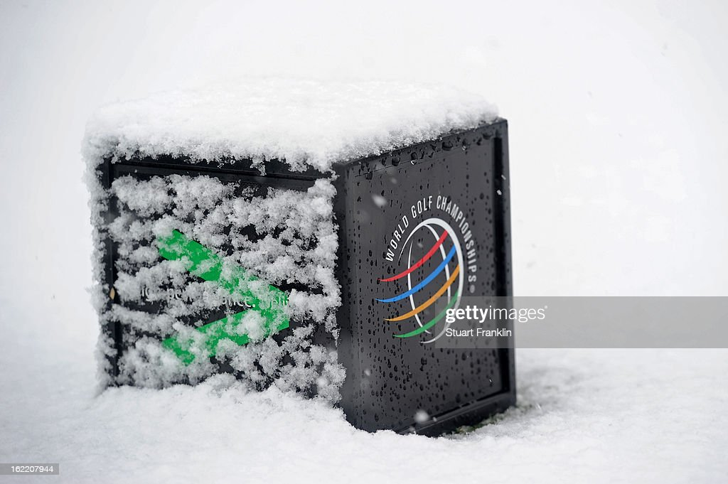 A detail of a tee box marker covered with snow as play was suspended during the first round of the World Golf Championships - Accenture Match Play at the Golf Club at Dove Mountain on February 20, 2013 in Marana, Arizona.