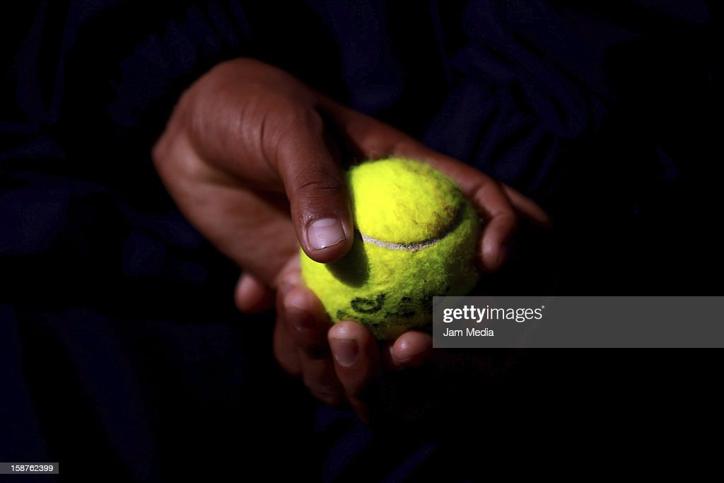 Detail of a tennis ball, during the Mexican Youth Tennis Open at Deportivo Chapultepec on December 27, 2012 in Mexico City, Mexico.