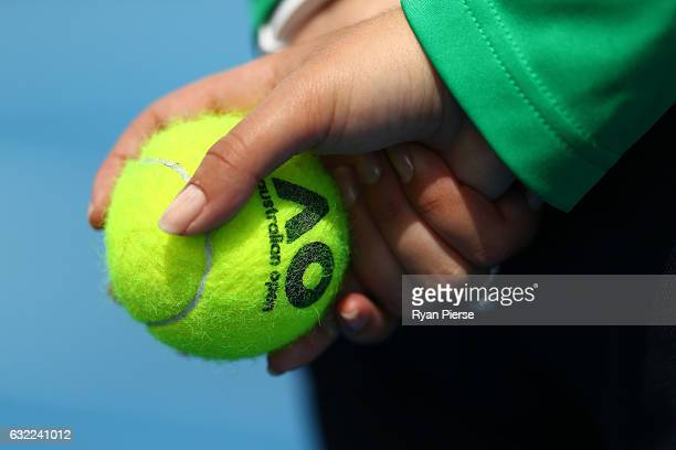 Detail of a tennis ball held by a ball kid during the Australian Open 2017 Junior Championships at Melbourne Park on January 21 2017 in Melbourne...