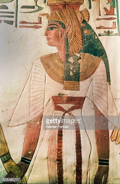 A wall painting in the tomb of queen nefertari pictures for Ancient egyptian mural