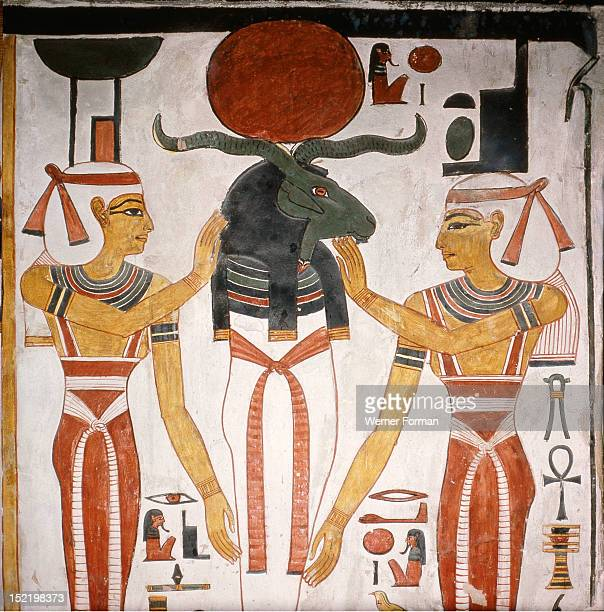 A detail of a wall painting in the tomb of Queen Nefertari It depicts the union of the gods Ra and Osiris These horns were the characteristic of a...