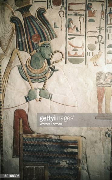 A detail of a wall painting in the tomb of Queen Nefertari Osiris god of the underworld in his green form Egypt Pharaonic 19th dynasty c 1290 1220 BC...